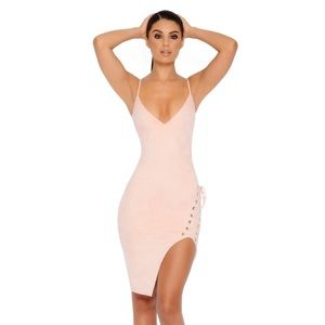 Light Pink Suede Oh Polly Lace Up Dress (Size 2)